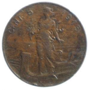 reverse: Casa Savoia .Vittorio Emanuele III. 5 Centesimi 1915 Italia su prora. Gig 261.BB.NC