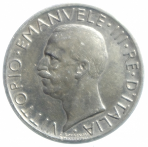 obverse: Casa Savoia. Vittorio Emanuele III. 5 Lire Aquilino 1927. Peso 5,00 gr. BB+.