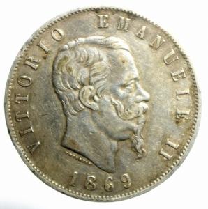 obverse: Casa Savoia. Vittorio Emanuele II. 1861-1878. Milano 5 lire 1869 M. Gig. 39.NC.BB