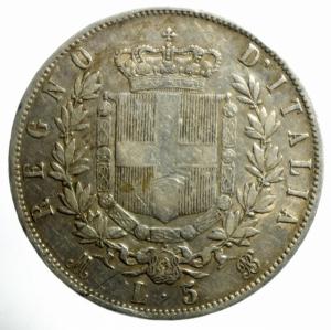 reverse: Casa Savoia. Vittorio Emanuele II. 1861-1878. Milano 5 lire 1869 M. Gig. 39.NC.BB