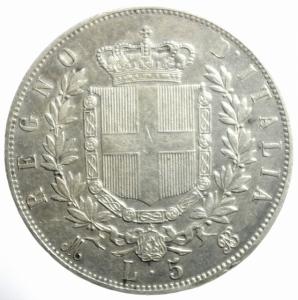 reverse: Casa Savoia. Vittorio Emanuele II. 5 Lire 1870 Milano. Ag. BB+.