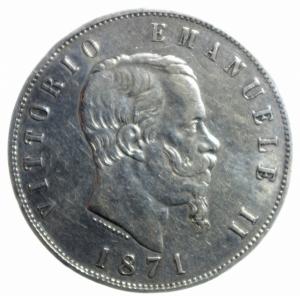 obverse: Casa Savoia. Vittorio Emanuele II. 5 Lire 1871 Milano. Ag. Gig.42. BB.