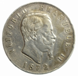 obverse: Casa Savoia. Vittorio Emanuele II. 5 Lire 1872. Milano. Ag. Gig 44. BB.