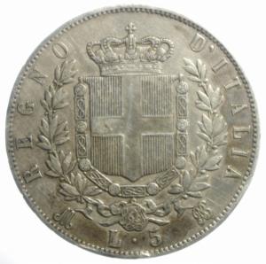 reverse: Casa Savoia. Vittorio Emanuele II. 5 Lire 1872. Milano. Ag. Gig 44. BB.