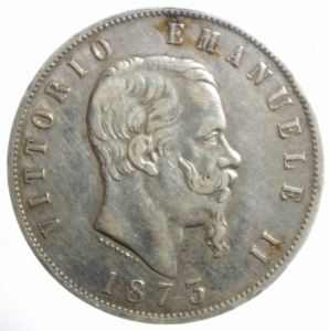 obverse: Casa Savoia. Vittorio Emanuele II. 5 Lire 1873. Milano. Ag. Gig.46. BB.