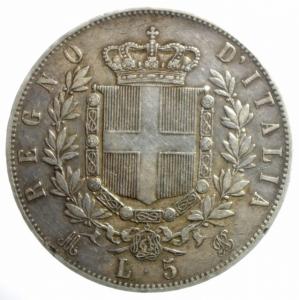 reverse: Casa Savoia. Vittorio Emanuele II. 5 Lire 1873. Milano. Ag. Gig.46. BB.