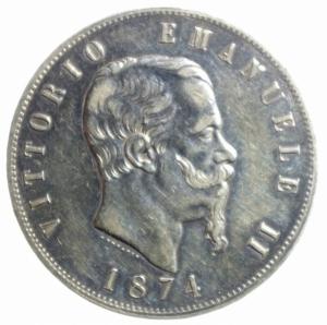 obverse: Casa Savoia. Vittorio Emanuele II. 5 Lire 1874. Milano. Ag. Gig.48. BB.