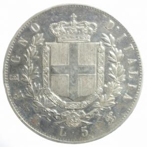 reverse: Casa Savoia. Vittorio Emanuele II. 5 Lire 1874. Milano. Ag. Gig.48. BB.