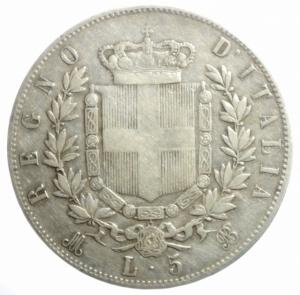 reverse: Casa Savoia. Vittorio Emanuele II. 5 Lire 1875. Milano. Ag. Gig. 49. MB.