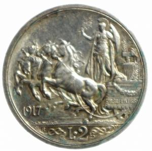 reverse: Casa Savoia. Vittorio Emanuele III. 2 Lire 1917 Quadriga Briosa. Pagani 775. Peso 10,00. BB+.Patina.