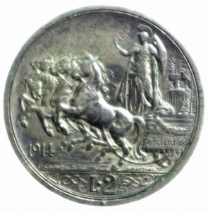 reverse: Casa Savoia. Vittorio Emanuele III. 1900-1943. 2 Lire 1914 Quadriga Briosa. Pagani 737. Peso 10,02.BB+.