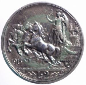 reverse: Casa Savoia. Vittorio Emanuele III. 2 Lire 1915 Quadriga Briosa. Ag. qSPL