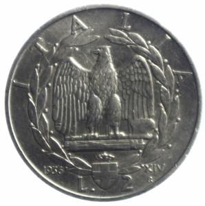 obverse: Casa Savoia. Vittorio Emanuele III. 1900-1943. 2 lire 1936 Anno XIV. NI. Pag. 754.BB\BB+. R.