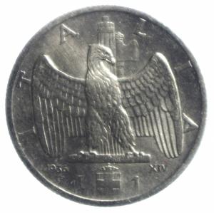 obverse: Casa Savoia. Vittorio Emanuele III. 1 lira 1936 Impero. Ni. Gig 153. BB\qSPL.