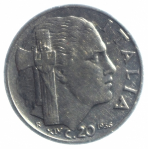 obverse: Casa Savoia. Vittorio Emanuele III. 1900-1943. 20 centesimi 1936. NI. Pag. 853. Mont. 305. BB+. R.
