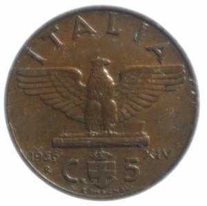 obverse: Casa Savoia. Vittorio Emanuele III. 5 Centesimi 1936 Impero. Ae. SPL. NC