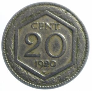 obverse: Casa Savoia. Vittorio Emanuele III. 20 Centesimi Esagono 1920.BB.