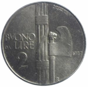 obverse: Casa Savoia. Vittorio Emanuele III. Buono da 2 Lire 1927. Gig 109. BB. RR