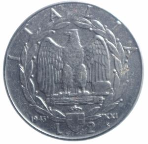 reverse: Casa Savoia. Vittorio Emanuele III. 1900-1943. 2 lire 1943 Anno XX. NI. Pag. 754.SPL. R.