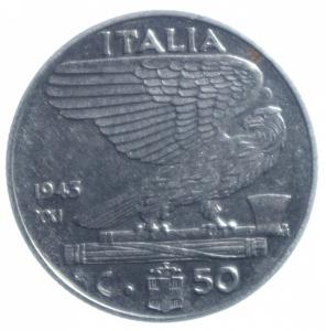 reverse: Casa Savoia. Vittorio Emanuele III. 1900-1943. 50 Centesimi 1943 Anno XXI . NI. SPL. R.