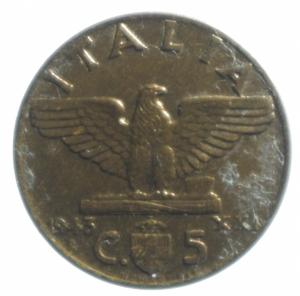 reverse: Casa Savoia. Vittorio Emanuele III. 1900-1943. 5 Centesimi 1943 Impero. Peso 3,00 gr. Diametro 19,45 mm. SPL+