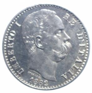 obverse: Casa Savoia. Umberto I. 2 Lire 1882. Roma. Ag. Peso 10,00 gr. Diametro 27,50 mm.qFDC.***