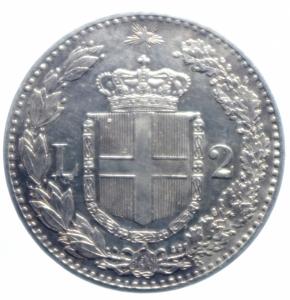 reverse: Casa Savoia. Umberto I. 2 Lire 1882. Roma. Ag. Peso 10,00 gr. Diametro 27,50 mm.qFDC.***