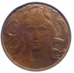 obverse: Casa Savoia. Vittorio Emanuele III. 1900-1943. 20 centesimi 1906. Esposizione di Milano. AE. Mont. 2.SPL.Rame Rosso.***