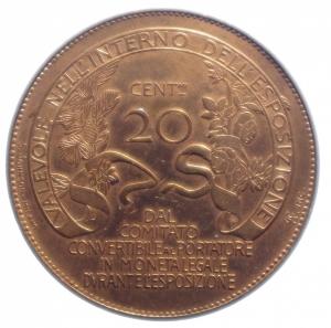 reverse: Casa Savoia. Vittorio Emanuele III. 1900-1943. 20 centesimi 1906. Esposizione di Milano. AE. Mont. 2.SPL.Rame Rosso.***