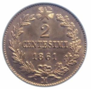 reverse: Casa Savoia. Vittorio Emanuele II. 2 Centesimi 1861 Milano. Pagani 557. FDC. Rame Rosso.***
