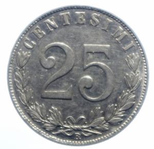 reverse: Casa Savoia . Regno di Italia. Vittorio Emanuele III (1900-1943). 25 centesimi 1902. Pag. 827. R. NI. qSPL.***