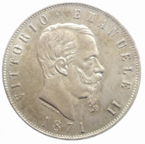 obverse: Casa Savoia. Vittorio Emanuele II. 1861-1878. 5 lire 1871 M. AG. Gig. 42. SPL.***