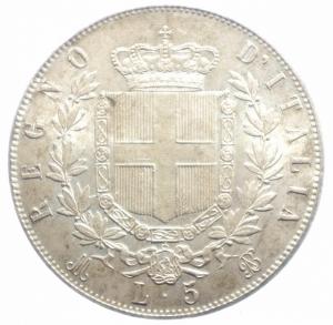 reverse: Casa Savoia. Vittorio Emanuele II. 1861-1878. 5 lire 1871 M. AG. Gig. 42. SPL.***