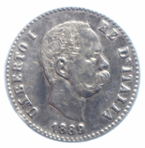 obverse: Casa Savoia . Umberto I (1878-1900). 50 centesimi 1889. Pag.608. R. AG.BB+.***