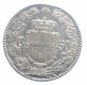 reverse: Casa Savoia . Umberto I (1878-1900). 50 centesimi 1889. Pag.608. R. AG.BB+.***