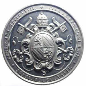 reverse: Medaglie Papali.Pio IX.1872.HIC EST SUCESSOR S.PETRI CAPUTECCLES. CATHOLIC.Peso 82,80 gr.Diametro 60,00 mm.SPL.***
