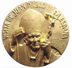 obverse: Medaglie Papali.Giovanni Paolo II (1978-2005), Karol Wojtyla di Wadowice. Medaglia per la Visita pastorale in Spagna 2003.SEREIS MIS TESTIGOS.Diametro 60,00 mm.FDC.***