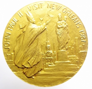 obverse: Medaglie Papali.Giovanni Paolo II (1978-2005), Karol Wojtyla di Wadowice. Medaglia per la visita a New Orleans 1987. AE. mm. 60.00 FDC.***
