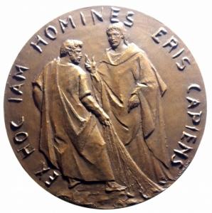 reverse: Medaglie Papali. Giovanni XXIII (1958-1963), Angelo Roncalli. Medaglia celebrativa, A. I. D/ IOHANNES XXIII PONT MAX A I. Busto a destra, con zucchetto. R/ EX HOC IAM HOMINES ERIS CAPIENS. Il miracolo dei pesci. AE. mm. 61.00 Inc. E. Manfrini. FDC.***