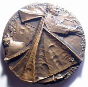 obverse: Medaglie Papali. Giovanni XXIII (1958-1963), Angelo Roncalli. Medaglia celebrativa.D/ SAN GIOVANNI XXIII 1881-1965 . Busto a sinistra, con zucchetto. R/ S.MARIA PERPETUO SUCCURSU. AE. mm. 51.00 Inc. FDC.***
