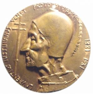 reverse: Medaglie Papali.Giovanni XXIII. Medaglia celebrebrativa del centenario della nascita.LAVRENTIVS IVSTINIANUS VENET PRO PATRIARHA.Foro.BB+.***