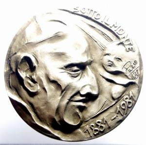 obverse: Medaglie Papali.Giovanni XXIII.Sotto il Monte 1881-1981 Uniface.Diametro 70,00.FDC