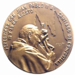obverse: Medaglie Papali.Giovanni Paolo II.1989 Visita di Giovanni Paolo a Santiago di Compostela.Diametro 50,00 mm.FDC.***