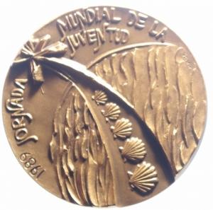 reverse: Medaglie Papali.Giovanni Paolo II.1989 Visita di Giovanni Paolo a Santiago di Compostela.Diametro 50,00 mm.FDC.***