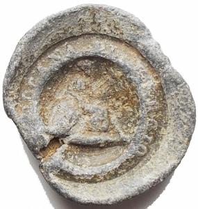 obverse: Medaglie - Sigillo in Pb da catalogare. gr 4,08. mm 18,6 x 19,1. Patina verde grigia