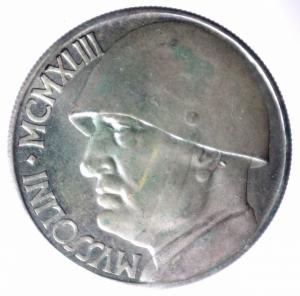 obverse: Medaglie.Emissione per nostalgici a riprodurre il 20 lire 1928 con Benito Mussolini invece del re Vittorio Emanuele III in ag.BB+