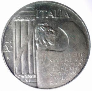 reverse: Medaglie.Emissione per nostalgici a riprodurre il 20 lire 1928 con Benito Mussolini invece del re Vittorio Emanuele III in ag.BB+