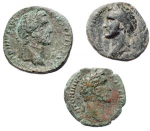 obverse: Lotti - Impero Romano.Lotto di 3 pezzi in Ae di Antonino Pio