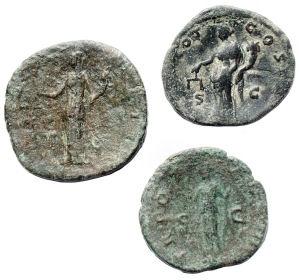 reverse: Lotti - Impero Romano.Lotto di 3 pezzi in Ae di Antonino Pio