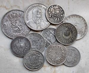 obverse: Lotti - Monete Estere. Insieme di 11 pezzi in Ag